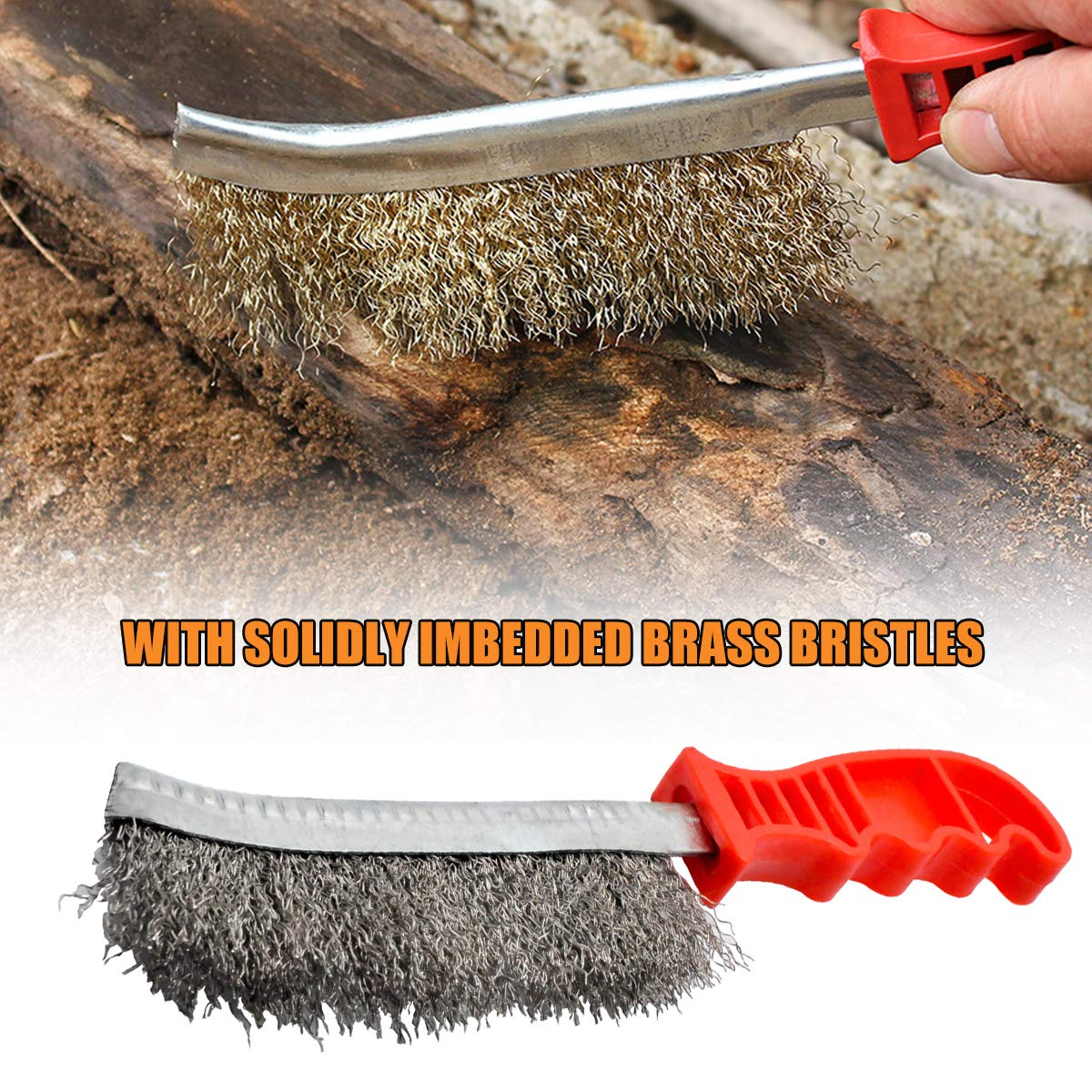Curved Stainless Wire Scratch Brush Length 24cm,Red HugeAuto cleaning Hand Tools Brush with Plastic Grip Handle