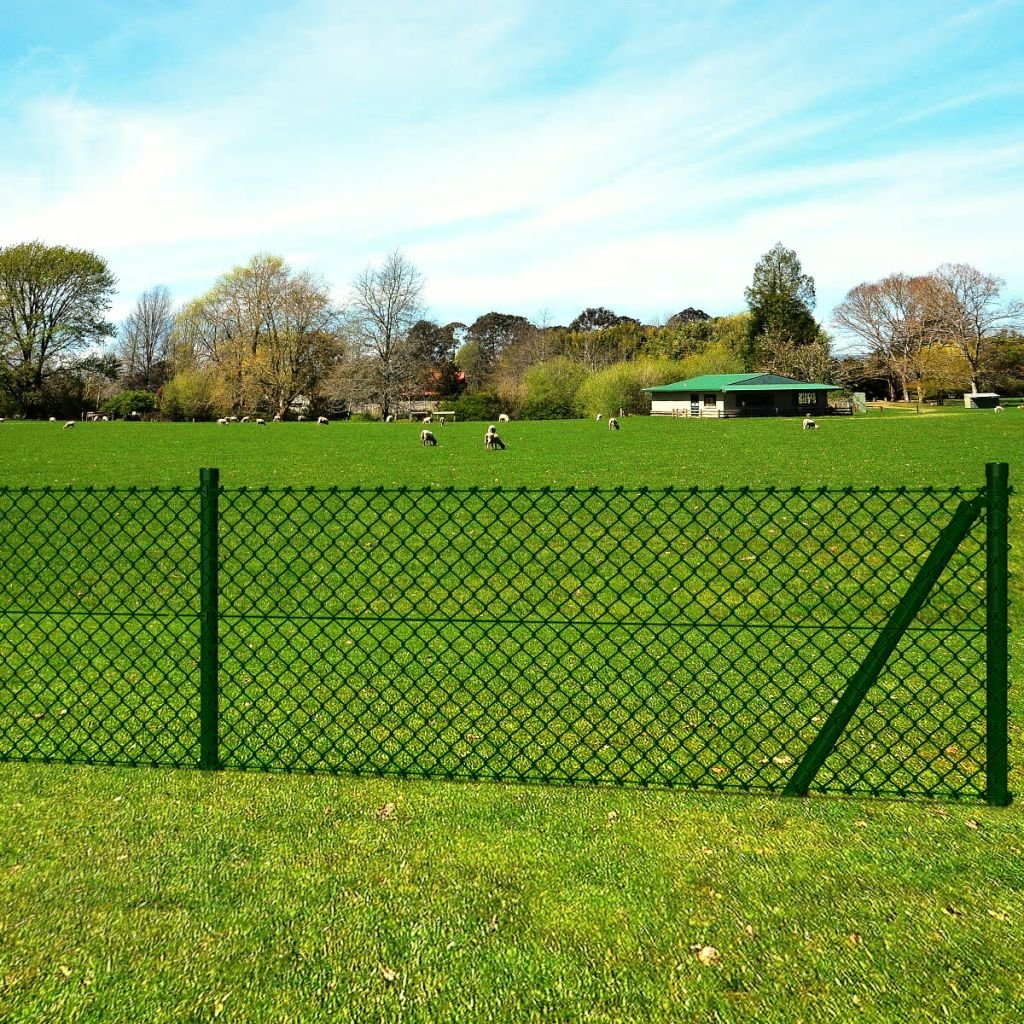 0,8 x 25 m Festnight Chain-Link Fence Set with Posts Spike Anchors Rabbit Animal Fence 0,8 x 25 m