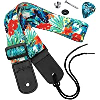 Dulphee Ukulele Strap Hawaiian Style Shoulder Strap Adjustable Ukulele straps for Soprano Concert Tenor Baritone Strings Instruments(Flower)