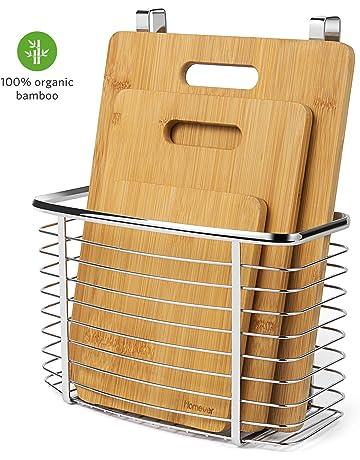 Homever Tabla de Cortar, Juego de Tablas de Cortar de bambú de 3 Piezas Plus