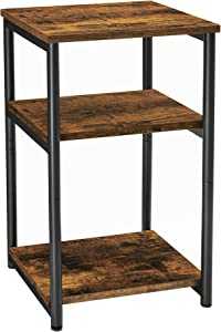 VASAGLE Side Table, End Table with Storage Shelves, 3-Tier Slim Tall Table, Steel Frame, for Living Room, Study, Bedroom, Industrial, Rustic Brown and Black ULET273B01