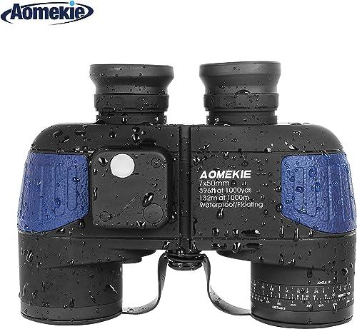 Aomekie Marine Binoculars Night Vision for Adults, 7X50 Military Binoculars Waterproof Fogproof with Compass Rangefinder BAK4 Prism Lens for Navigation Boating Fishing Water Sports Hunting Army Blue
