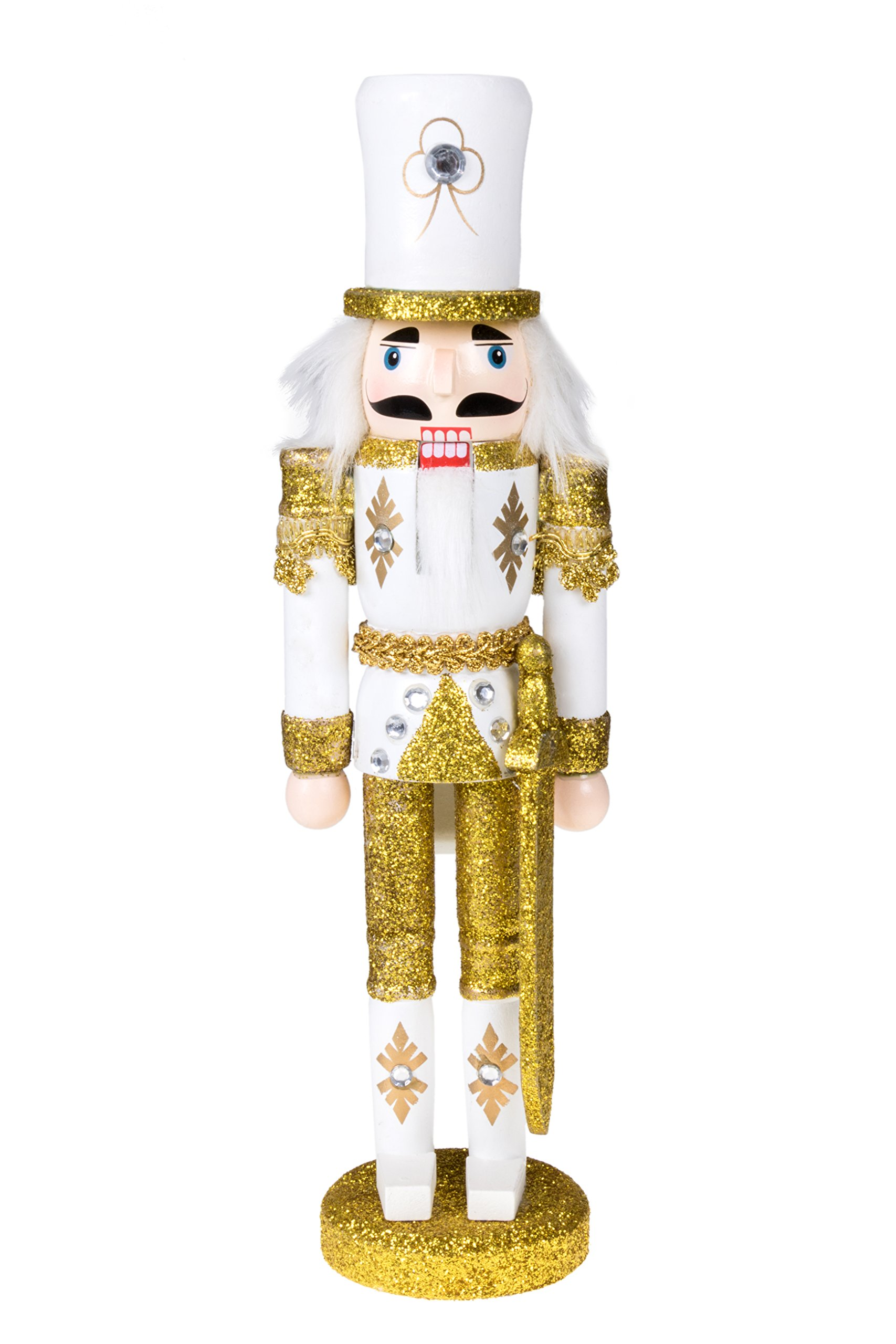Traditional Christmas Gold Soldier with Sword Nutcracker | Solider Outfit | Festive Christmas Decor | 12'' Tall Perfect for Shelves and Tables