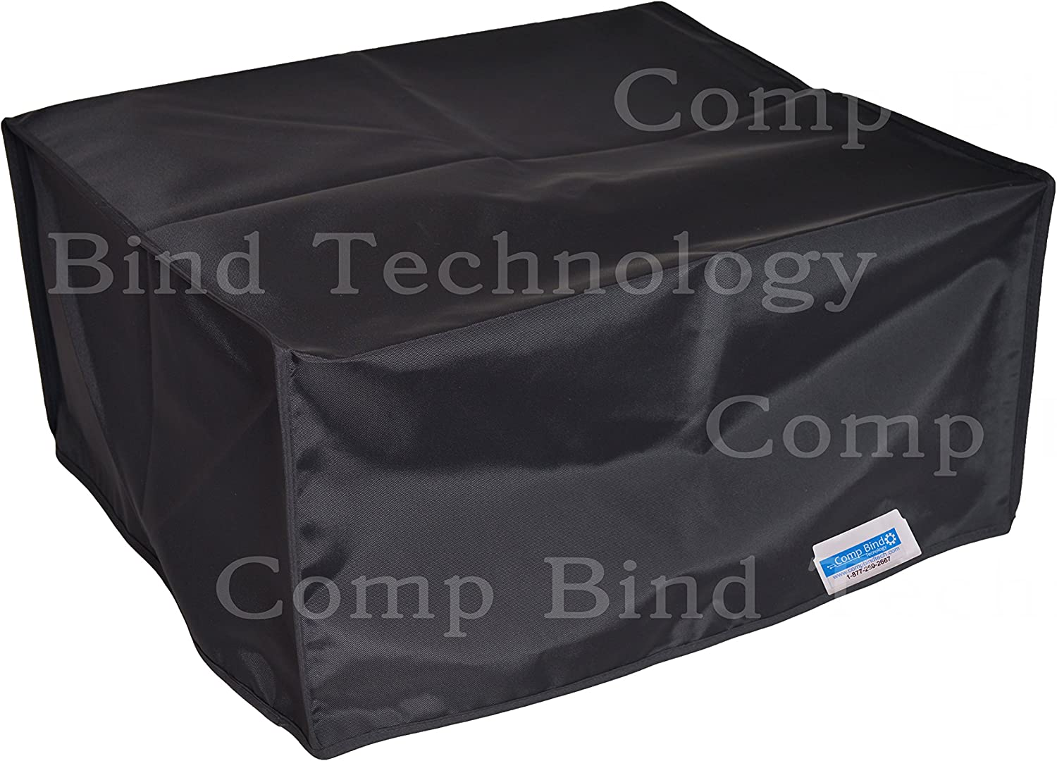 Comp Bind Technology Printer Dust Cover for HP OfficeJet 7612 Wide Format e-All-in-One Printer, Black Nylon, Anti-Static and Double Stitched Dust Cover - Size 24.75''W x 20.25''D x 11.25''H