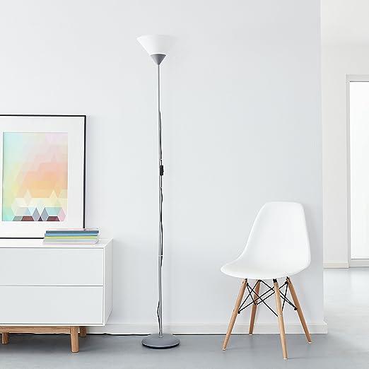 Clásica lámpara de pie LED, 1 x bombilla 10 W E27 LED incluida, 810 lúmenes, 2700 K, metal/plástico, plata/blanco: Amazon.es: Iluminación