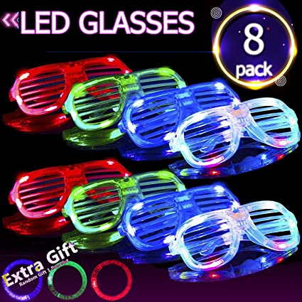 Glow Party Supplies Novelty Eye Glass Toys Led Flashing Shutter Eyeglasses Party Decoration For Kid Children Toys Random Color Festive & Party Supplies