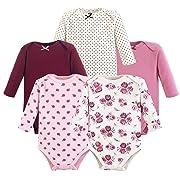Hudson Baby Long Sleeve Bodysuit, 5 Pack, Rose, 3-6 Months