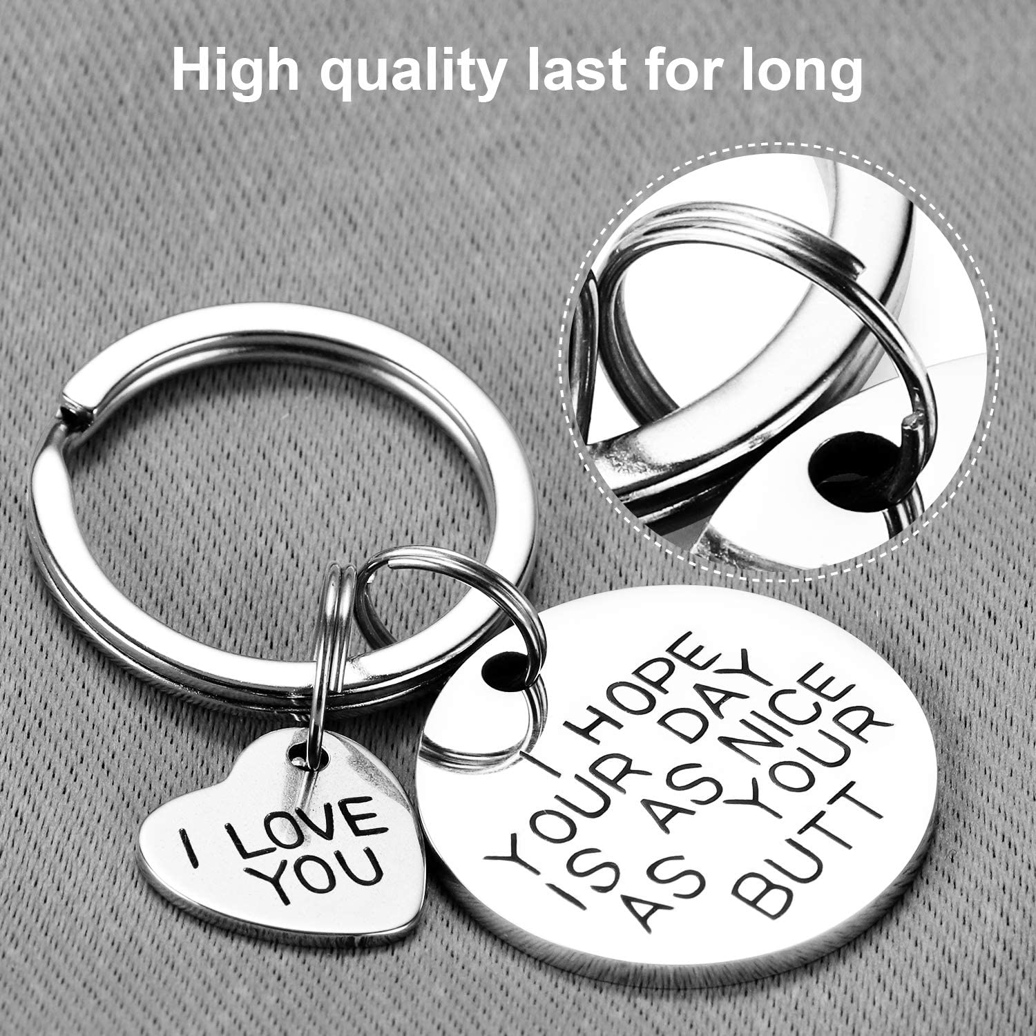 Funny Birthday Keychain Gift for Her Nguenon Novelty Keyring Gift Ideas for Birthday Husband ValentineS Day Him,BFF Wife I Hope Your Day is As Nice As Your Butt Thanksgiving Christmas Gift