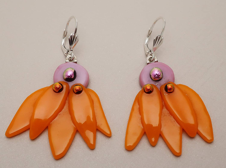 orange     light coffeeclear   #59 Fused Dichroic Glass dangle earrings