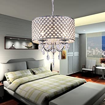 modern drum chandeliers with 4 lights pendant light with crystal drops in round ceiling light