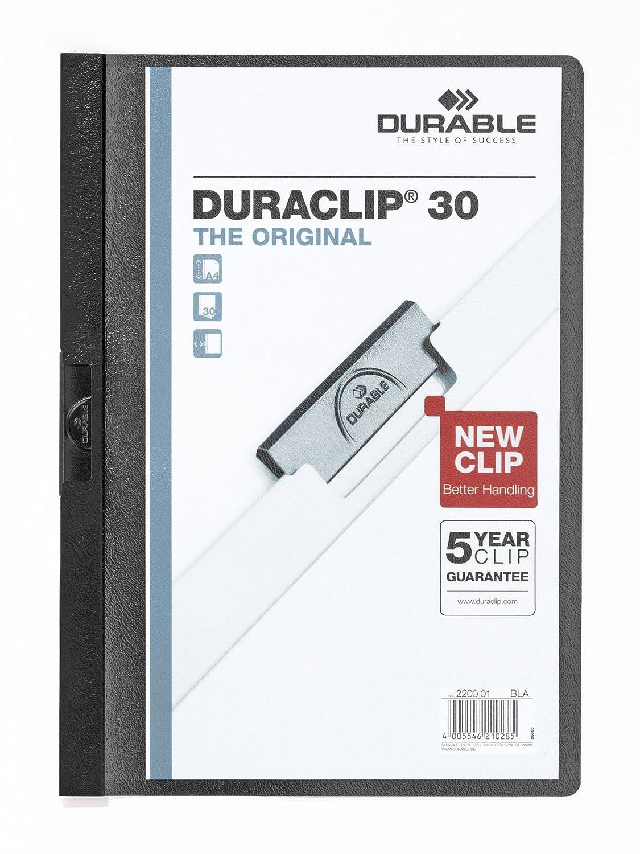 capacit/à 1-30 fogli cartellina con clip per archiviare documenti Duraclip 30 Retail Pack DURABLE 222700 confezione da 5 pezzi assortiti f.to A4