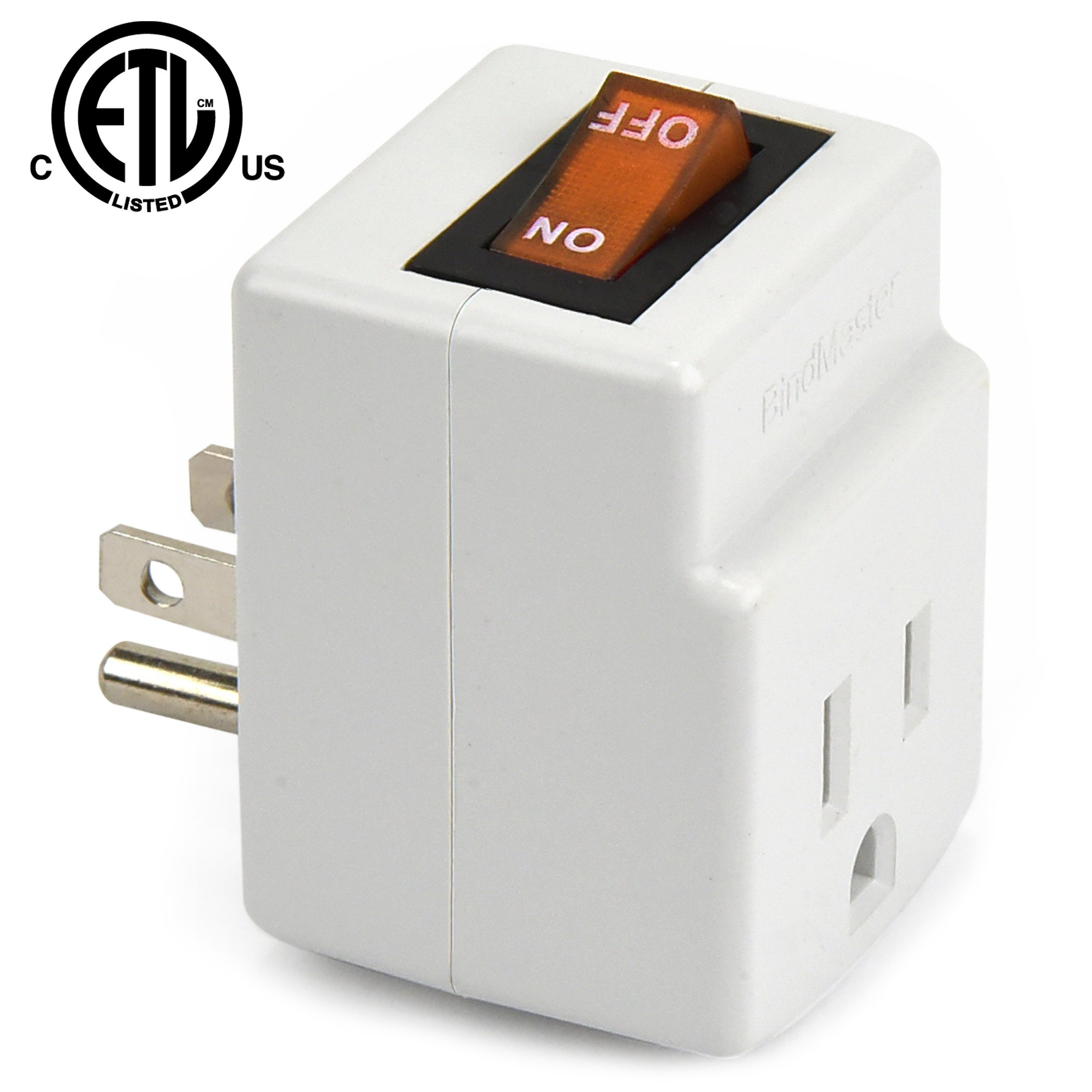 NEW! 3 Prong Grounded Single Port Power Adapter for outlet with Orange indicator On/Off Switch to be energy saving (3 Pack)