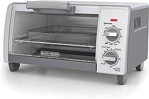 BLACK+DECKER TO1785SG Crisp N Bake Air Fry Toaster Oven, 4-Slice, Gray (Renewed)