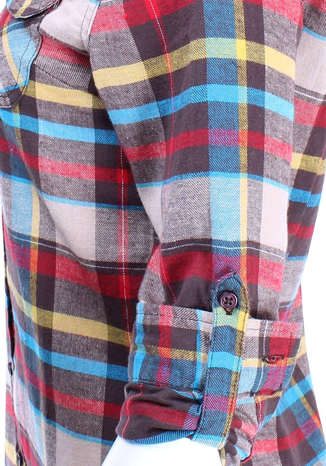 Ladies Code Womens Flannel Plaid Button Down Shirt with Roll Up Sleeves Junior Size LCTL087