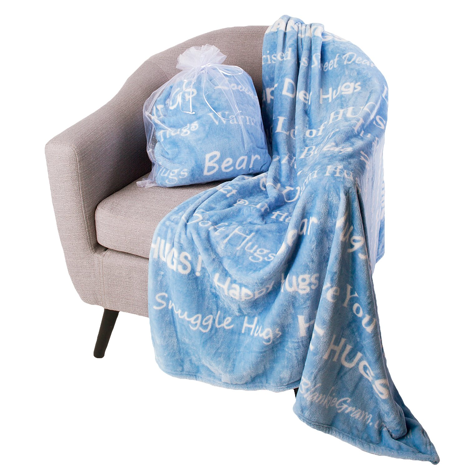 Blankiegram Hugs Blanket The Perfect Caring Gift (Blue)