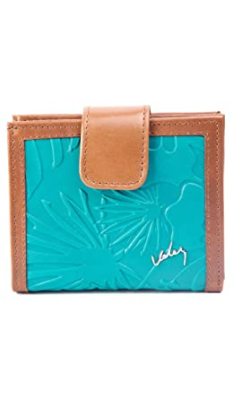 Velez Women Genuine Full Grain Leather Bifold Wallets Billeteras de Mujer Turquoise U