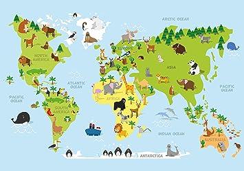Fototapete Karikatur Tiere Weltkarte Kontinente Ozeane Kinder Xl