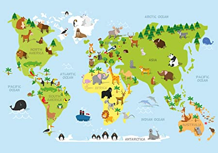 Fototapete Karikatur Tiere Weltkarte Kontinente Ozeane Kinder Xl 350