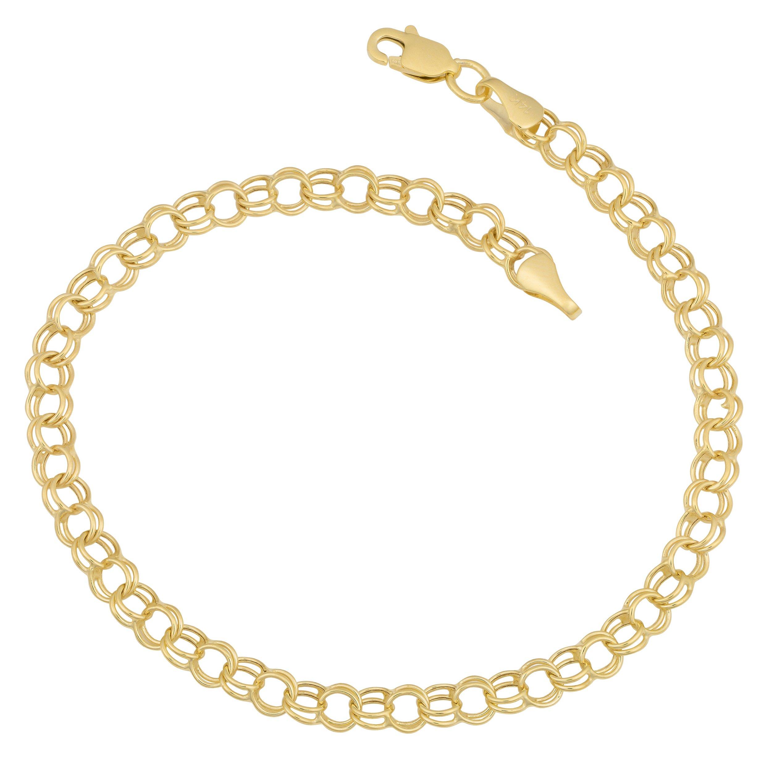 14k Yellow Gold 4mm Round Charm Link Bracelet (7.5 inch)