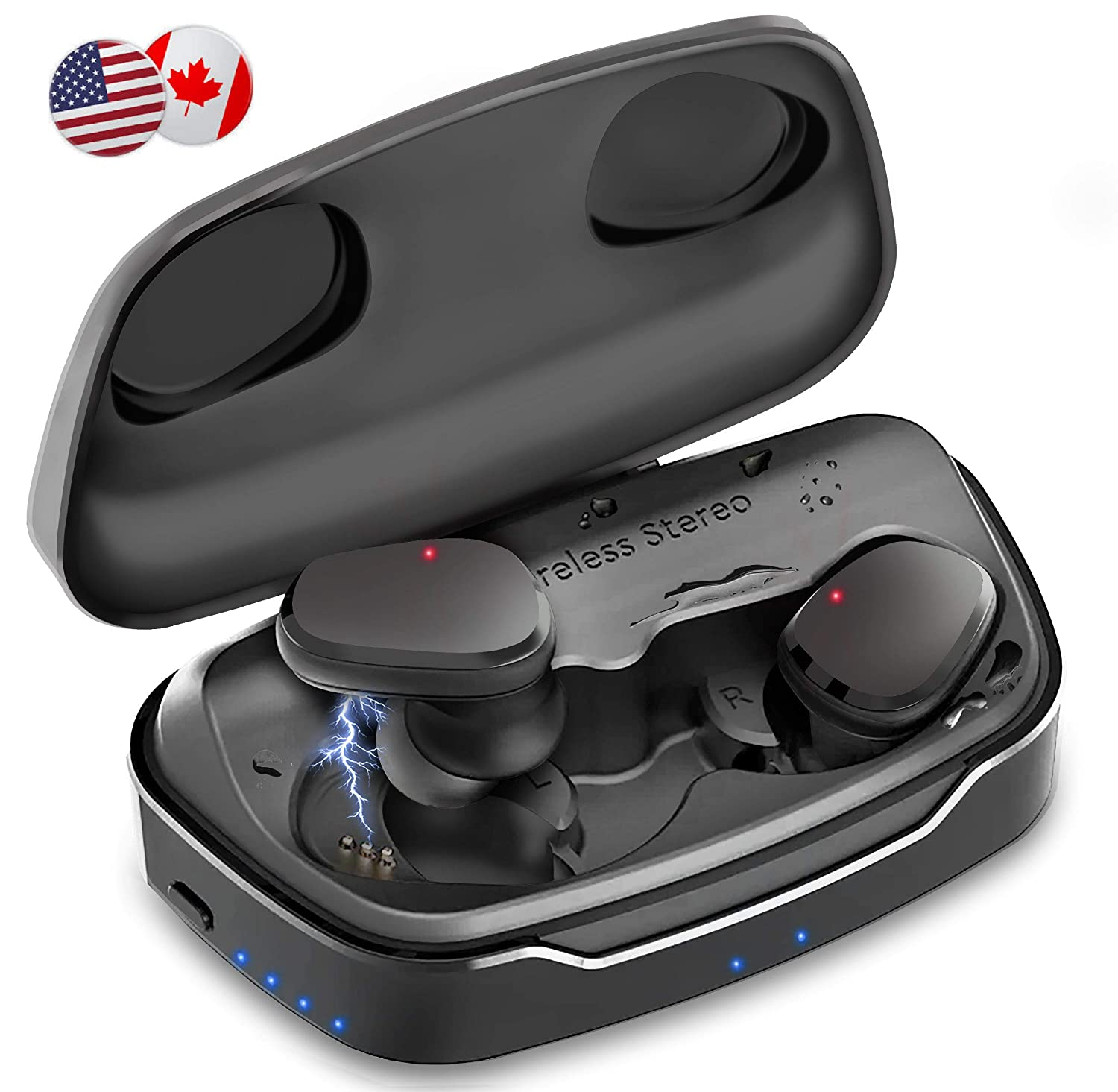 【New - 2019 Updated】 Wavebud Quasar WB-QSD06, TWS Bluetooth 5.0 True Wireless Stereo Earbuds Headphones, Waterproof, HD Bass 【5 Sound Settings】,【Sport FIT】, Mic, 【90-100Hr 】 use, 【Power Bank】 Feature