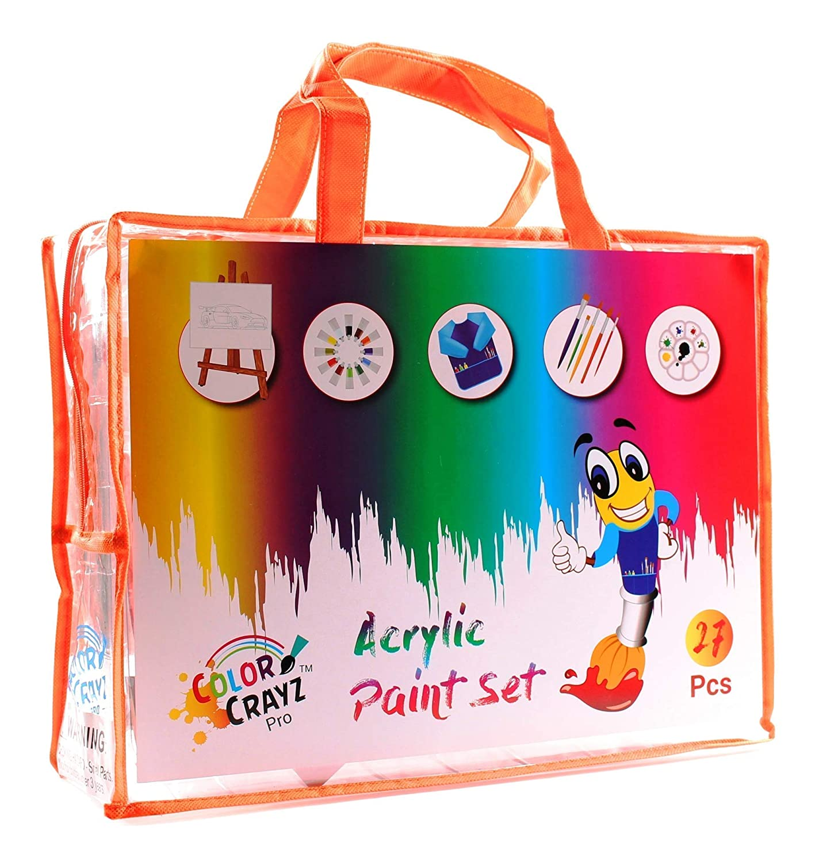 Kids Painting Art Set | 27-Piece Complete Paint Kit with 12 Colors Acrylic Paint , Brushes 8x10 Canvas Easel ColorCrayz