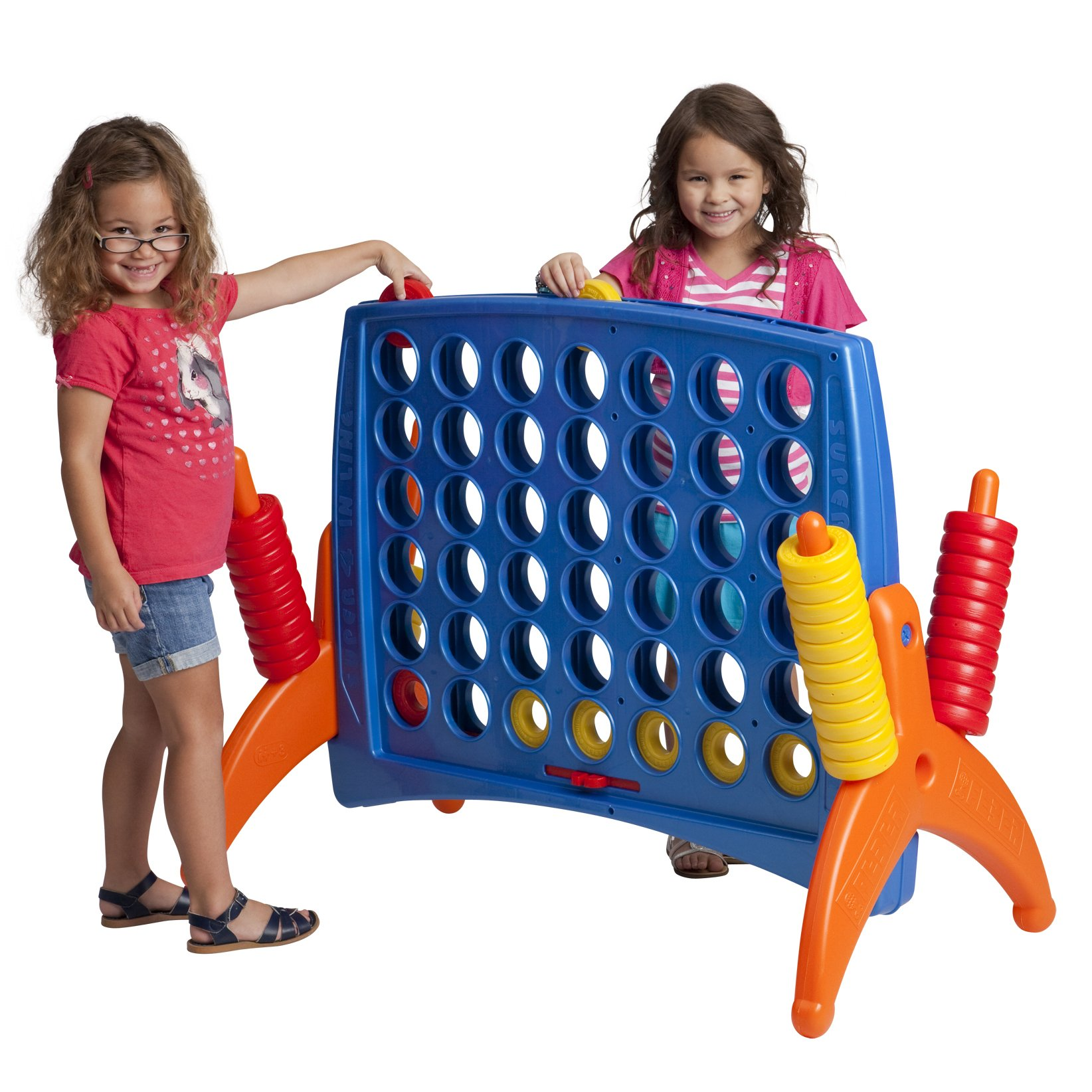 ECR4Kids Junior 4-To-Score Giant Game Set - Oversized 4-In-A-Row Fun for Kids, Adults and Families - Indoors/Outdoor Play Structure - Almost 3 Feet Tall, Primary Colors