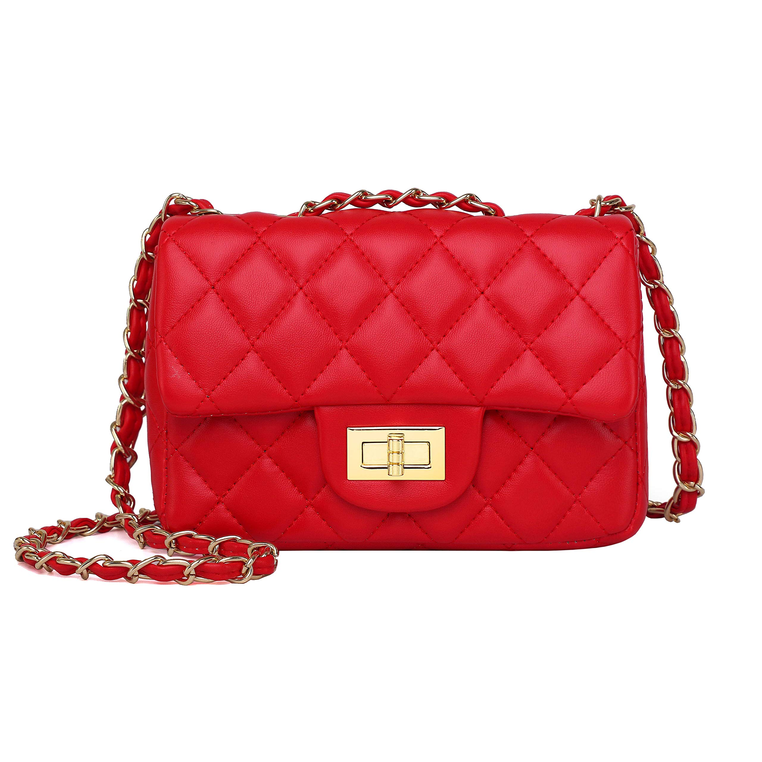 Volcanic Rock Women's Quilted PU Leather Cross-body Bag Girls Purse & Handbags Chain Small Messenger Bag(919 Red) by Volcanic Rock (Image #1)