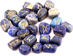 Healing Crystals India Witchcraft Crystals Viking Rune Hand Casting Kit Chakra Healing River Stones Reiki Crystals Gemstones Crystals Occult Decor Pagan Decor Wiccan Jewelry Lapis Lazuli Runes Set
