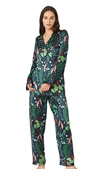 0080512794 LILYSILK Plant Print Long Silk Pyjamas Set Women 2Pcs 100% Charmeuse Silk  19 Momme Silk