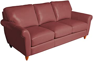 Omnia Leather Cameo 3 Cushion Sofa In Leather, Cherry Legs, Dream Wine