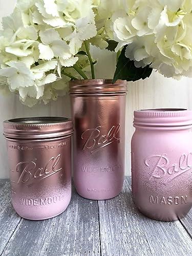 amazon com metallic rose gold and pink painted mason jars rustic