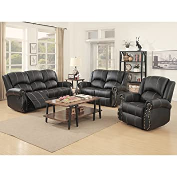 Amazon.com: Holi-us 3-piece Bonded Leather Recliner Sofa Sofa set& ...