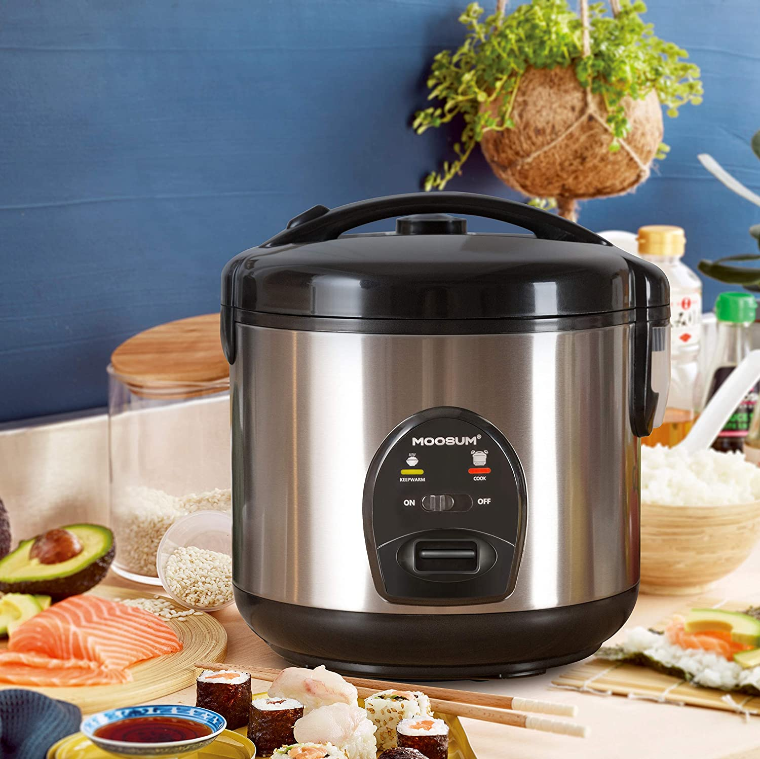 MOOSUM Small Rice Cooker 5 Cups With Steamer Stainless Steel Asian Japanese Sushi Rice Brown Rice Long Rice Auto Warmer