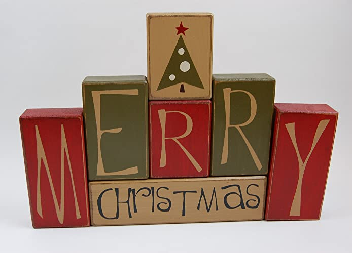 primitive country wood stacking sign blocks seasonal christmas decor merry christmas - Merry Christmas Decorative Blocks