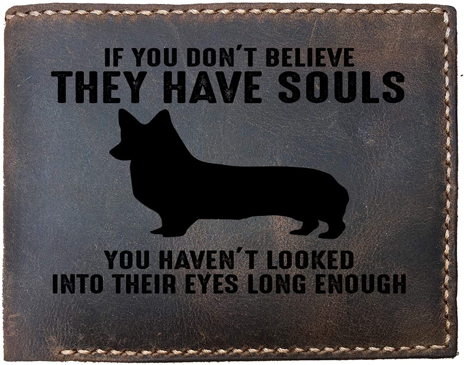 Lobsteray Looked Into Corgis Eyes Custom Laser Engraved Leather Bifold Wallet for Men Funny Sayings