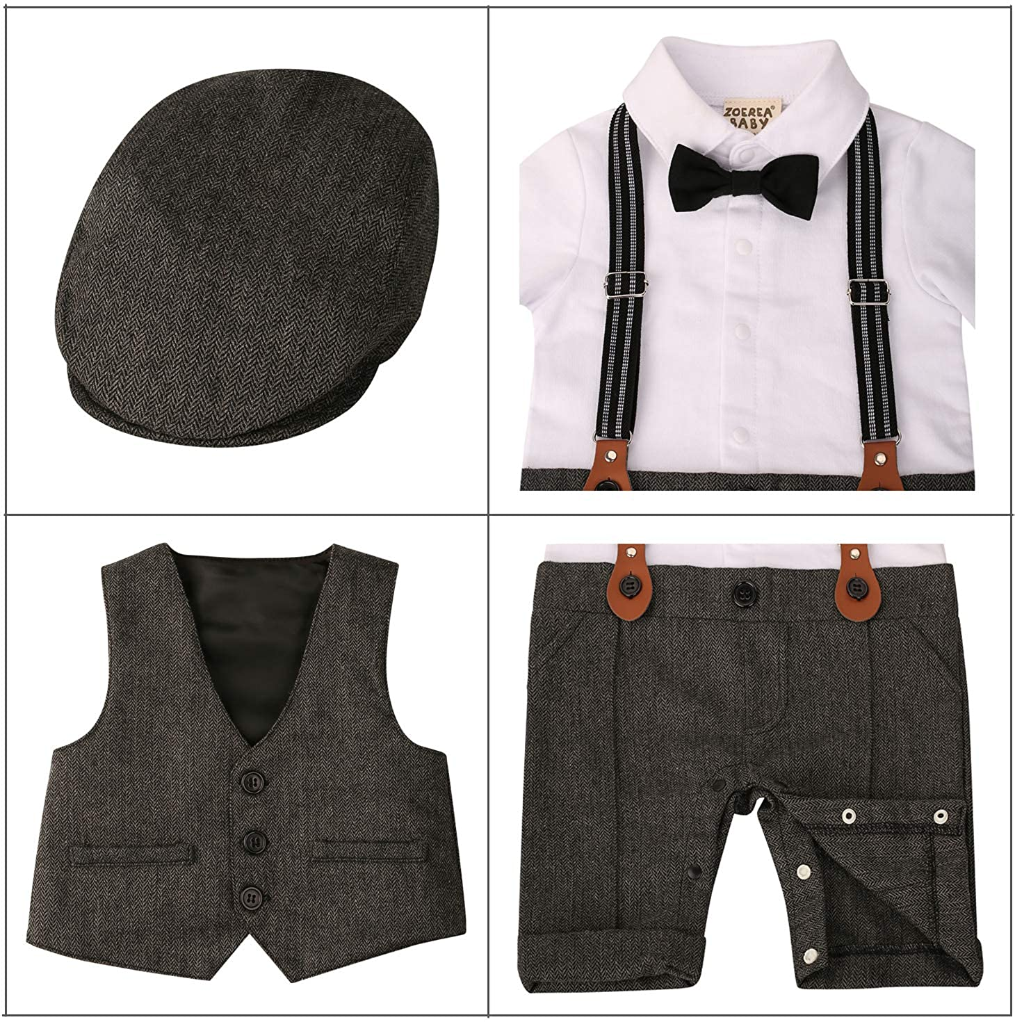3pcs Long Sleeves Gentleman Jumpsuit /& Vest Coat /& Berets Hat with Bow Tie ZOEREA Baby Boy Outfits Set