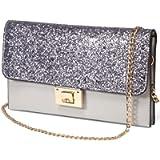 Clutch Purses for Women, KASQO Fashion Glitter Evening Wristlet Shoulder Bag for Ladies with Detachable Straps