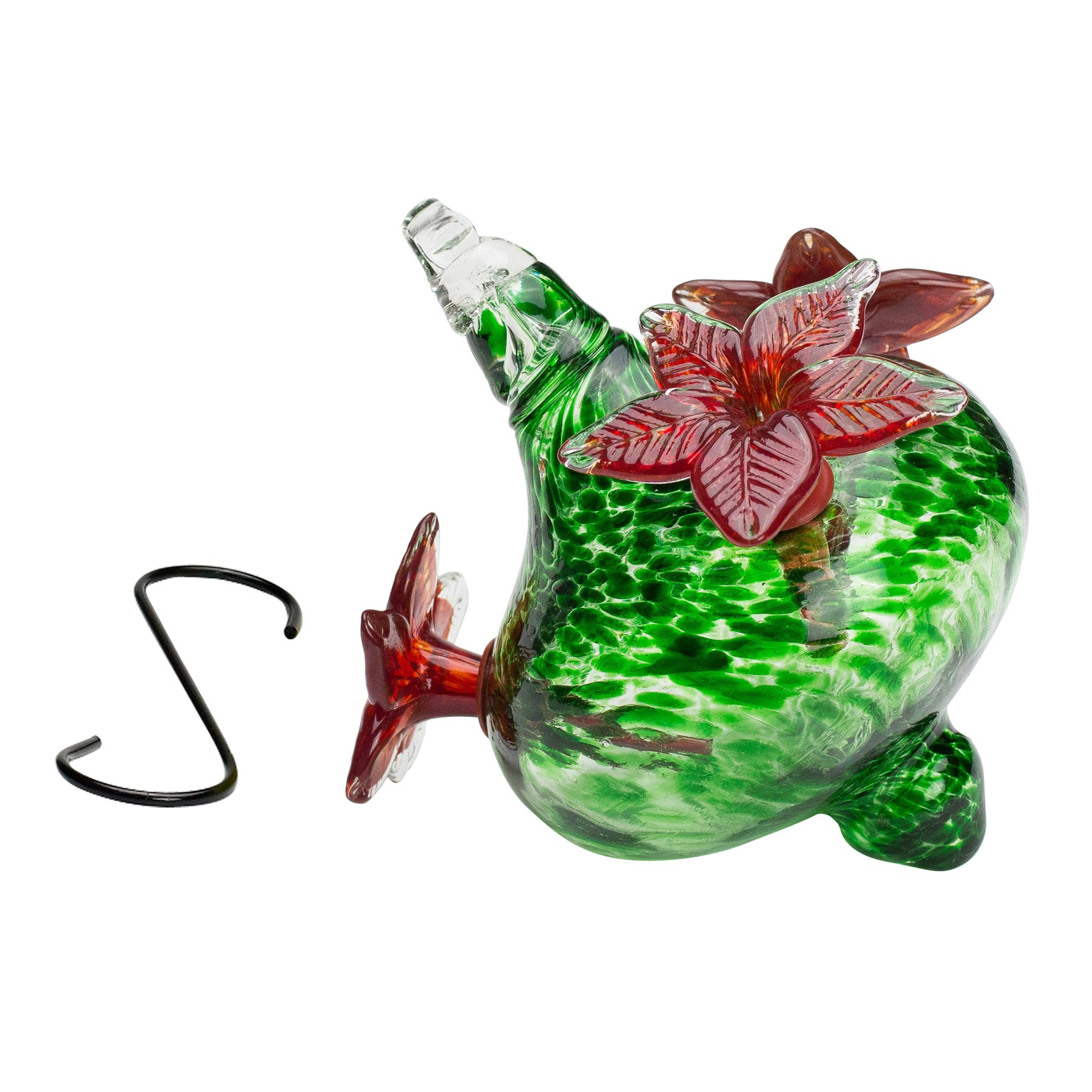 Best Home Products HUMMINGBIRD FEEDER - Blown Glass | Green Bouquet Cap with Red Flowers 16 ounces