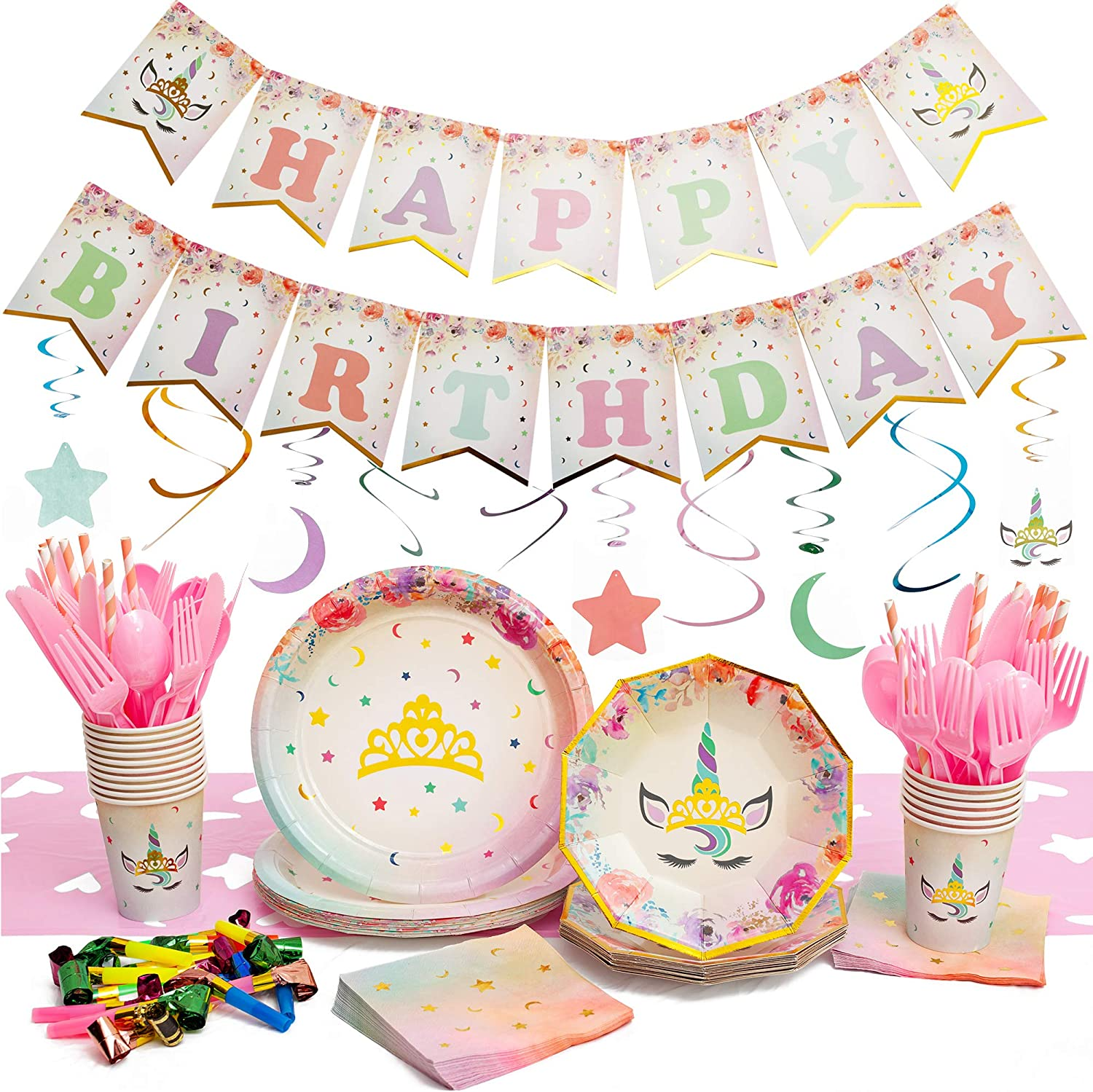 176 Piece Unicorn Party Supplies Pack - Serves 16 - Gold Metallic Foil Stamp - Set Includes Plates - Cups - Napkins - Straws - Table Cloth - Cutlery - Birthday Banner - Decorations and Favors