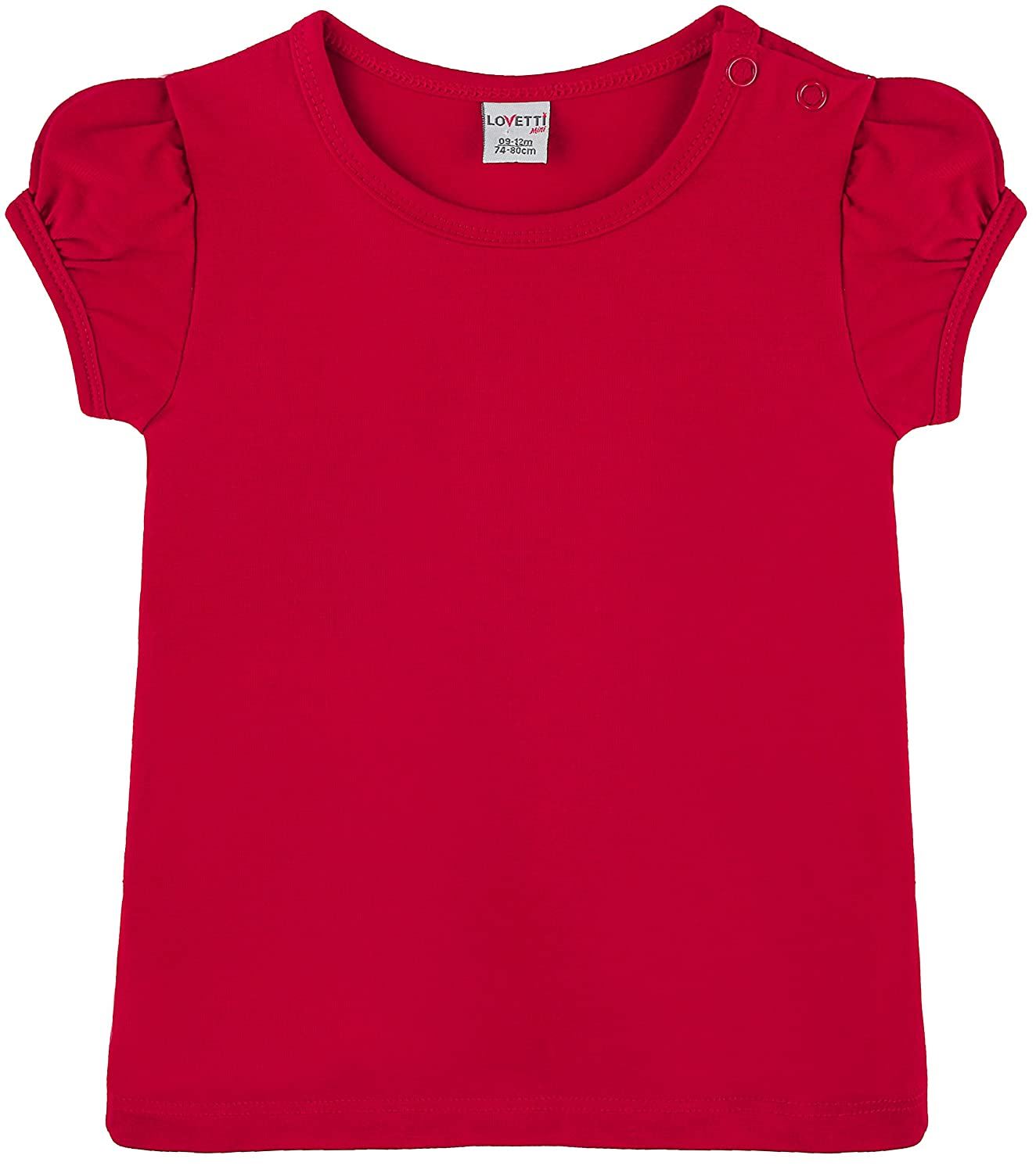 Lovetti Baby Girls' Basic Short Puff Sleeve Round Neck T-Shirt 31000
