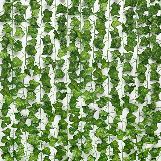 Daluo 24pcs (157 Feet) Artificial Greenery Fake Ivy Leaves Garland Hanging for Wedding Party Garden Wall Decoration