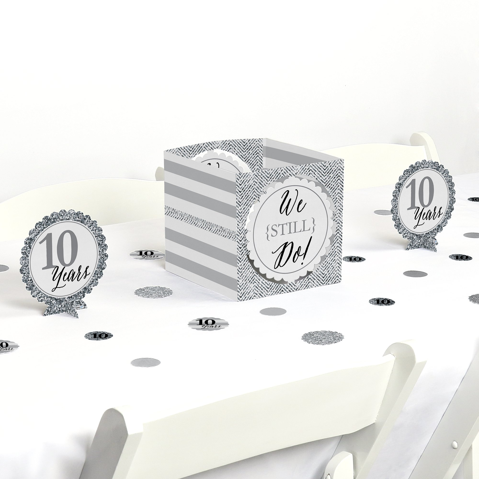 Big Dot of Happiness We Still Do - 10th Wedding Anniversary - Party Centerpiece & Table Decoration Kit