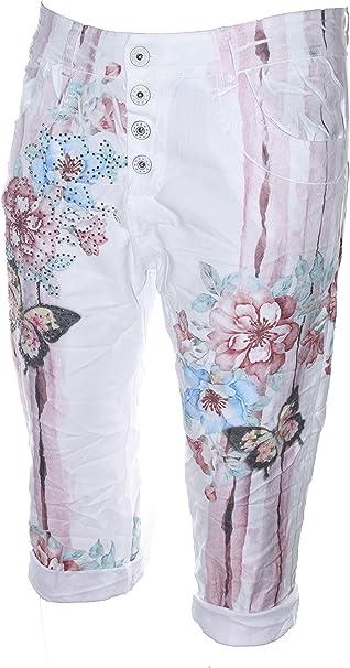 Damen Sommer Capri Baumwolle Bermuda Shorts Blumen Blüten Muster 36 38 neu weiß