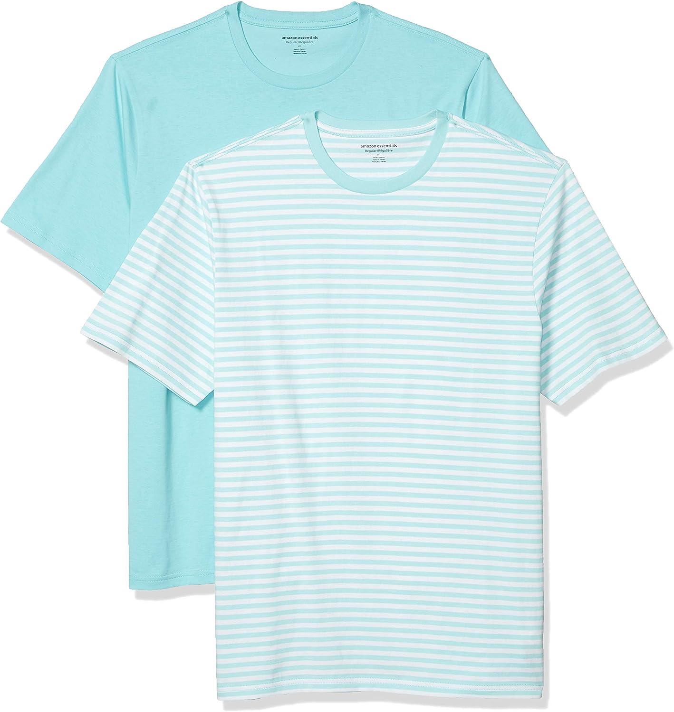Essentials Juego de 2 Camisetas de Manga Corta con Cuello Redondo de Ajuste Holgado Fashion-t-Shirts Hombre