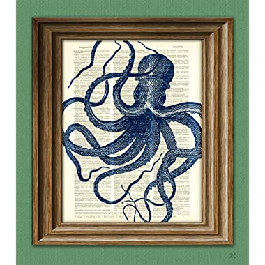 Blue Octopus illustration beautifully upcycled vintage dictionary page book art print