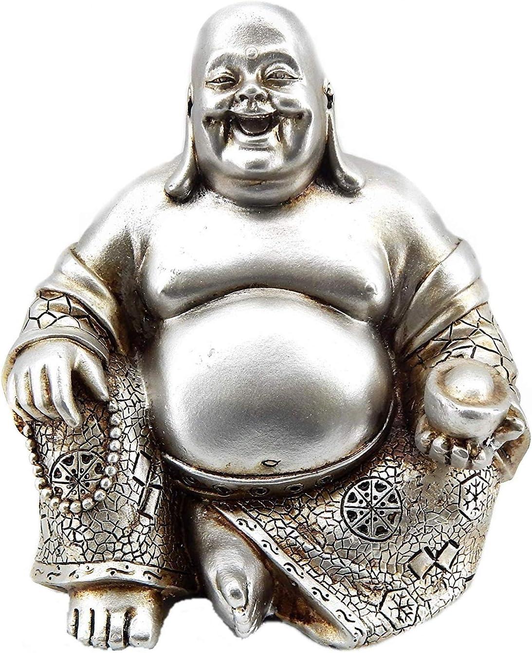 Bellaa 25761 Laughing Buddha Statue Lucky Happy Sitting 6 inch (Silver Buddha)