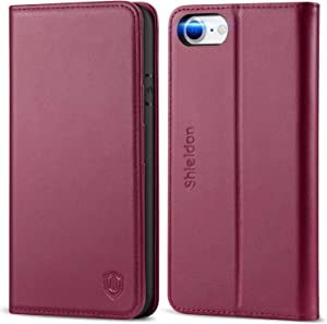 SHIELDON iPhone SE 2020 Case, iPhone 8 Wallet Case Genuine Leather Card Holder Magnetic Closure Stand Book Flip Cover Shockproof Protection Case Compatible with iPhone SE2/8/7 (4.7