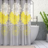 Wimaha Peony Flower Fabric Shower Curtain Mildew Resistant Waterproof Standard Shower Bath Curtain for Bathroom Yellow and Grey, 72 x 72