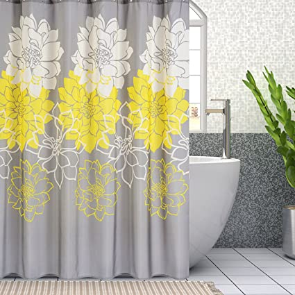 Wimaha Peony Flower Fabric Shower Curtain Mildew Resistant Waterproof Standard Bath For Bathroom Yellow