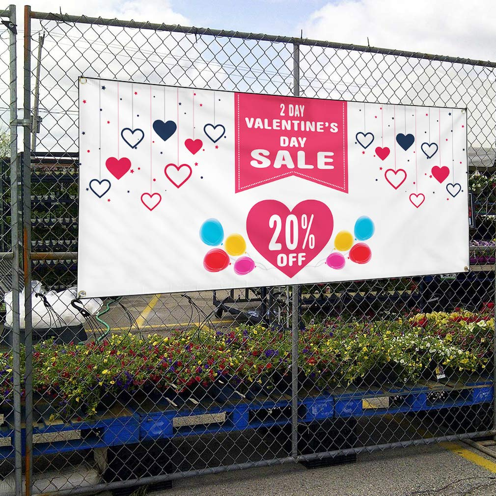 Custom Vinyl Banner Sign Multiple Sizes Valentines Day Sale Percentage Off A Business Sale Outdoor Pink 8 Grommets 48inx96in One Banner